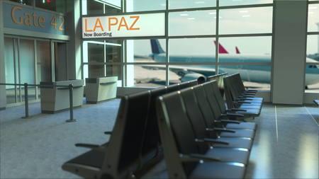 Embarque de vuelo en La Paz ahora en la terminal del aeropuerto. Viajando a Bolivia renderizado 3D conceptual.
