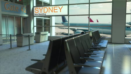 Sydney flight boarding now in the airport terminal. Travelling to Australia conceptual 3D rendering