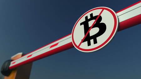 Barrier gate with Bitcoin prohibition sign. Cryptocurrency ban conceptual 3D rendering