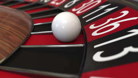 Casino roulette wheel ball hits 36 thirty-six red, 3D rendering