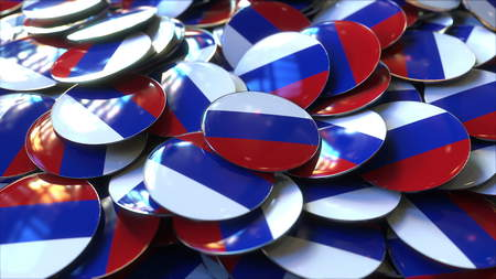 Pile of badges featuring flags of Russia. 3D rendering Stock Photo
