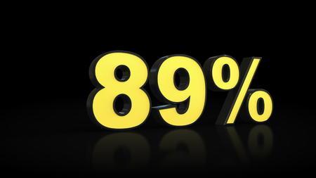 eighty-nine 89 % percent 3D rendering Stock Photo
