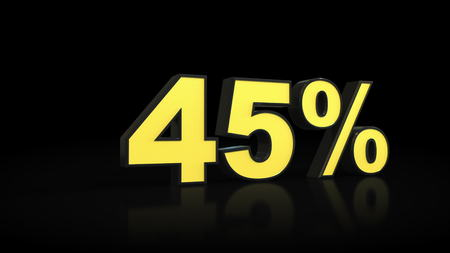 forty-five 45 % percent 3D rendering