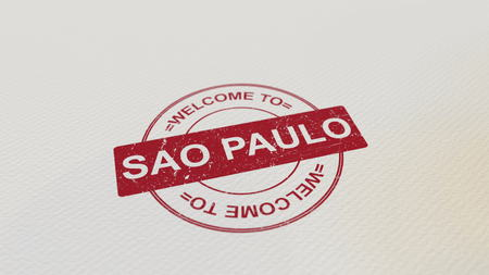WELCOME TO SAO PAULO stamp red print on the paper. 3D rendering
