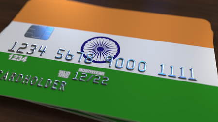 Plastic bank card featuring flag of India. National banking system related 3D rendering Stock Photo