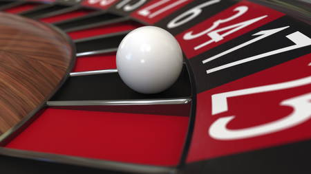 Casino roulette wheel ball hits 17 seventeen black. 3D rendering Stock Photo