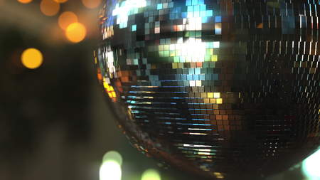Mirror disco ball against bokeh background. Joy, dancing or party concepts. 3D rendering