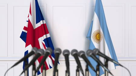 Flags of the United Kingdom and Argentina at international meeting or conference. 3D rendering