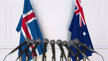 Flags of Iceland and Australia at international meeting or conference. 3D rendering