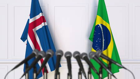 Flags of Iceland and Brazil at international meeting or conference. 3D rendering
