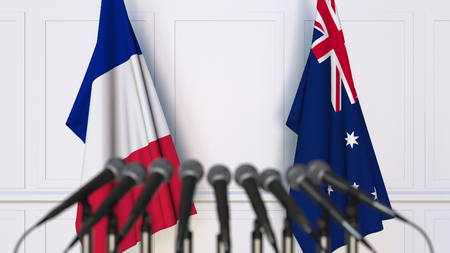 Flags of France and Australia at international meeting or conference. 3D rendering