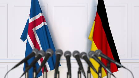 Flags of Iceland and Germany at international meeting or conference. 3D rendering