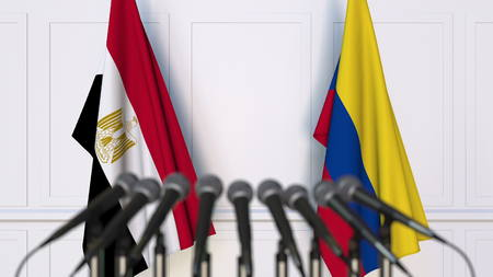 Flags of Egypt and Colombia at international meeting or conference. 3D rendering Stock Photo