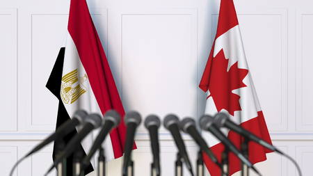 Flags of Egypt and Canada at international meeting or conference. 3D rendering Stock Photo