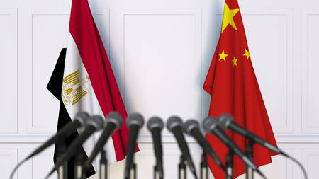 Flags of Egypt and China at international meeting or conference. 3D rendering