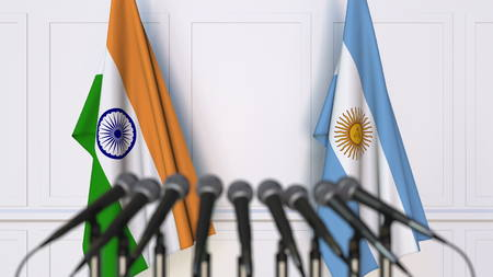 Flags of India and Argentina at international meeting or conference. 3D rendering