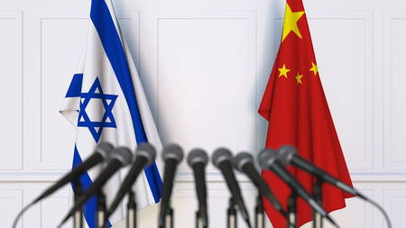 Flags of Israel and China at international meeting or conference. 3D rendering Foto de archivo