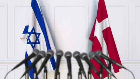 Flags of Israel and Denmark at international meeting or conference. 3D rendering