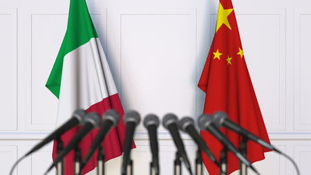 Flags of Italy and China at international meeting or conference. 3D rendering Stock Photo