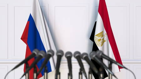 Flags of Russia and Egypt at international meeting or conference. 3D rendering