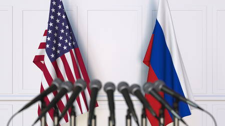 Flags of the USA and Russia at international meeting or conference. 3D rendering Stock Photo