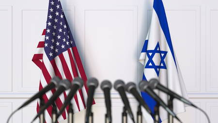 Flags of the USA and Israel at international meeting or conference. 3D rendering Stock Photo