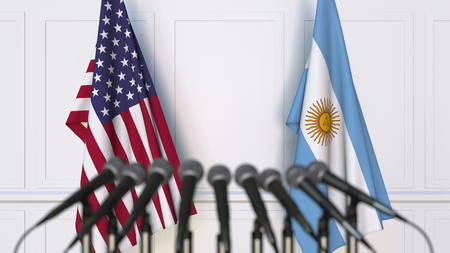 Flags of the USA and Argentina at international meeting or conference. 3D rendering