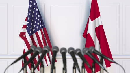 Flags of the USA and Denmark at international meeting or conference. 3D rendering