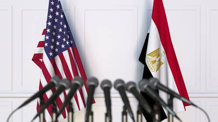 Flags of the USA and Egypt at international meeting or conference. 3D rendering