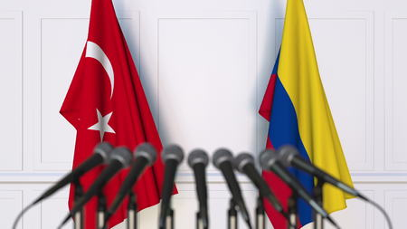 Flags of Turkey and Colombia at international meeting or conference. 3D rendering