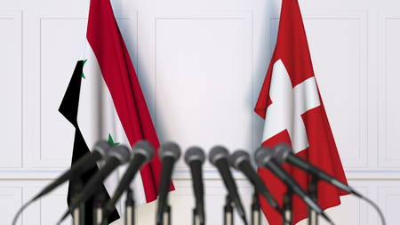 Flags of Syria and Switzerland at international meeting or conference. 3D rendering Stock Photo