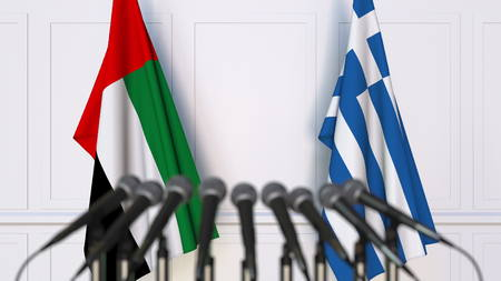 Flags of the UAE and Greece at international meeting or conference. 3D rendering