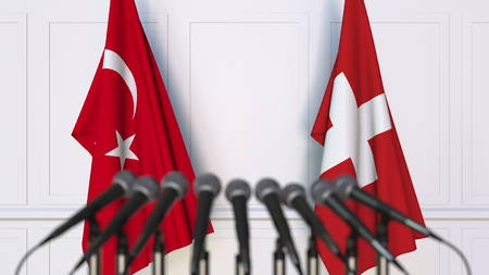 Flags of Turkey and Switzerland at international meeting or conference. 3D rendering Stock Photo