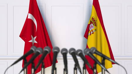 Flags of Turkey and Spain at international meeting or conference. 3D rendering Stock Photo