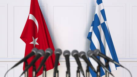 Flags of Turkey and Greece at international meeting or conference. 3D rendering Stock Photo