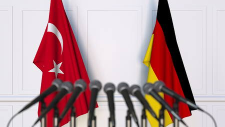 Flags of Turkey and Germany at international meeting or conference. 3D rendering