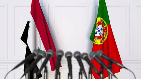 Flags of Syria and Portugal at international meeting or conference. 3D rendering