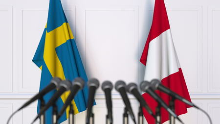Flags of Sweden and Peru at international meeting or conference. 3D rendering