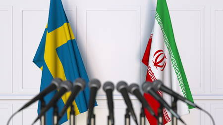 Flags of Sweden and Iran at international meeting or conference. 3D rendering