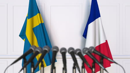 Flags of Sweden and France at international meeting or conference. 3D rendering