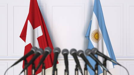 Flags of Switzerland and Argentina at international meeting or conference. 3D rendering