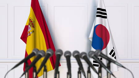 Flags of Spain and Korea at international meeting or conference. 3D rendering Stock Photo