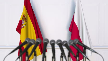 Flags of Spain and Poland at international meeting or conference. 3D rendering Stock Photo