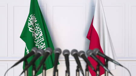 Flags of Saudi Arabia and Poland at international meeting or conference. 3D rendering