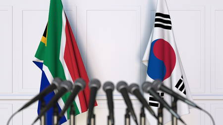 Flags of South Africa and Korea at international meeting or conference. 3D rendering