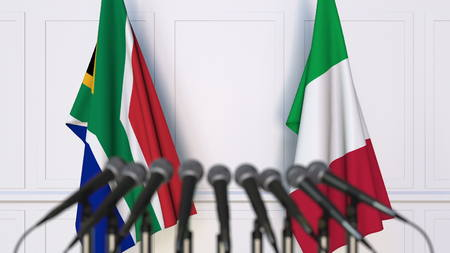 Flags of South Africa and Italy at international meeting or conference. 3D rendering