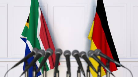 Flags of South Africa and Germany at international meeting or conference. 3D rendering Stock Photo