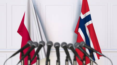 Flags of Poland and Norway at international meeting or conference. 3D rendering