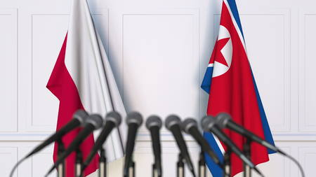 Flags of Poland and North Korea at international meeting or conference. 3D rendering