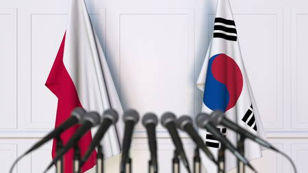 Flags of Poland and Korea at international meeting or conference. 3D rendering